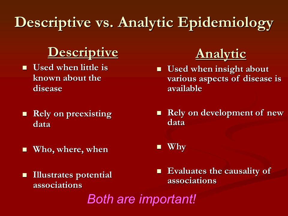 Descriptive vs. Analytic Epidemiology Descriptive Descriptive Used when little is known about the disease Used when little is known about the disease
