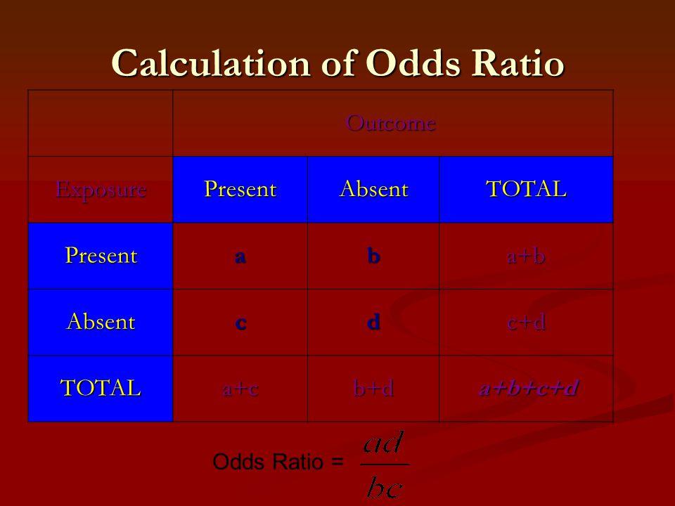 Calculation of Odds Ratio Outcome Outcome ExposurePresentAbsentTOTAL Presentaba+b Absentcdc+d TOTALa+cb+da+b+c+d Odds Ratio =