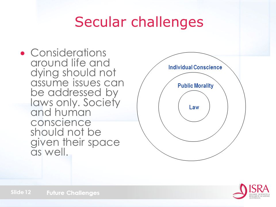 Future Challenges Slide 12  Considerations around life and dying should not assume issues can be addressed by laws only.