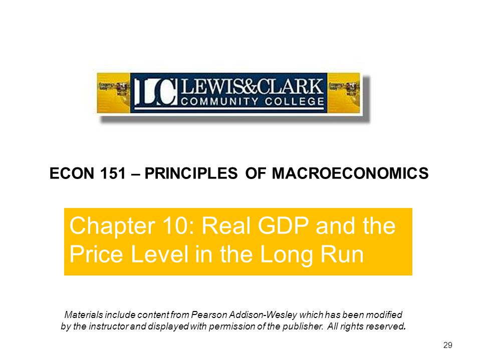 Chapter 10: Real GDP and the Price Level in the Long Run End of Chapter 10 29 ECON 151 – PRINCIPLES OF MACROECONOMICS Materials include content from P