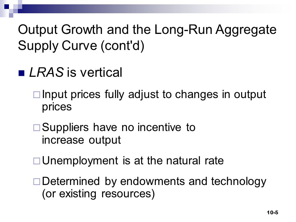 Output Growth and the Long-Run Aggregate Supply Curve (cont'd) LRAS is vertical  Input prices fully adjust to changes in output prices  Suppliers ha