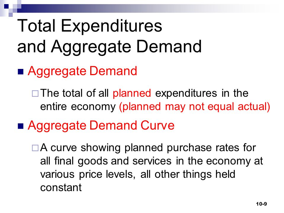 Total Expenditures and Aggregate Demand Aggregate Demand  The total of all planned expenditures in the entire economy (planned may not equal actual)