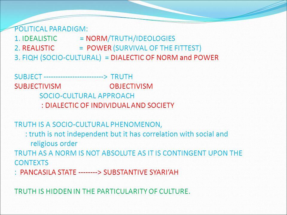 POLITICAL PARADIGM: 1.IDEALISTIC = NORM/TRUTH/IDEOLOGIES 2.