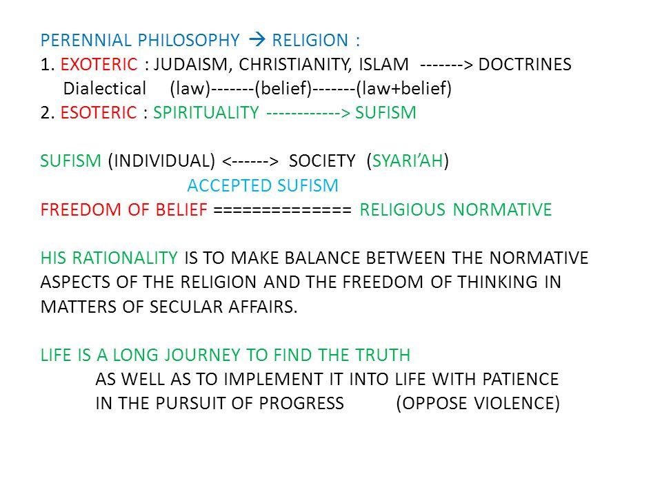 PERENNIAL PHILOSOPHY  RELIGION : 1.
