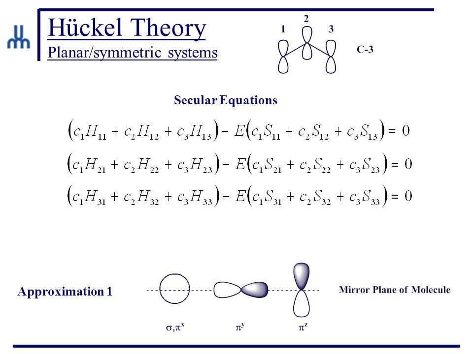 Hückel Theory Planar/symmetric systems Secular Equations Approximation 1