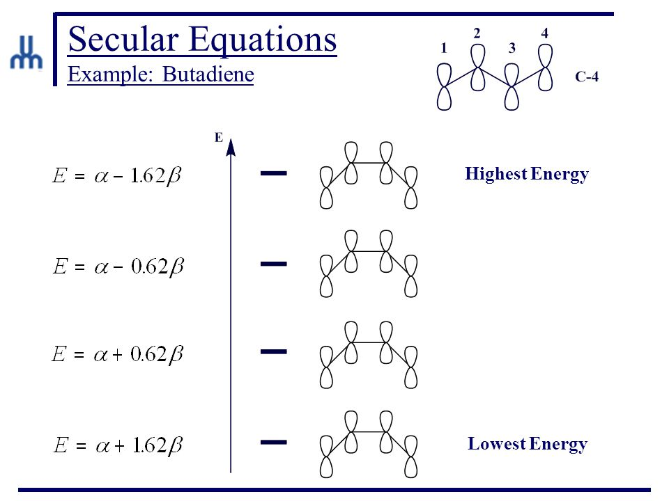 Secular Equations Example: Butadiene Highest Energy Lowest Energy