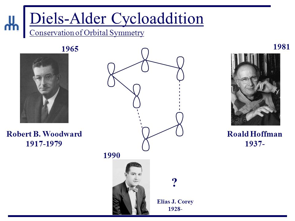 Diels-Alder Cycloaddition Conservation of Orbital Symmetry Robert B. Woodward 1917-1979 Roald Hoffman 1937- Elias J. Corey 1928- ? 1965 1981 1990