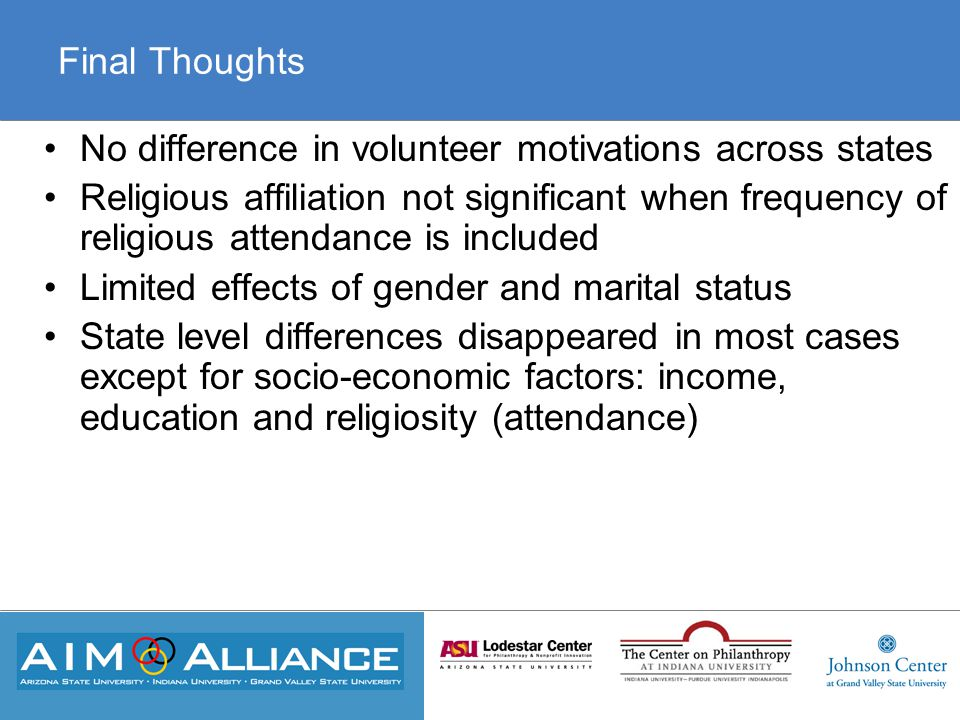 Final Thoughts No difference in volunteer motivations across states Religious affiliation not significant when frequency of religious attendance is included Limited effects of gender and marital status State level differences disappeared in most cases except for socio-economic factors: income, education and religiosity (attendance)