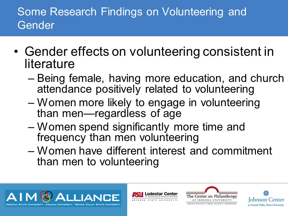 Some Research Findings on Volunteering and Gender Gender effects on volunteering consistent in literature –Being female, having more education, and church attendance positively related to volunteering –Women more likely to engage in volunteering than men—regardless of age –Women spend significantly more time and frequency than men volunteering –Women have different interest and commitment than men to volunteering