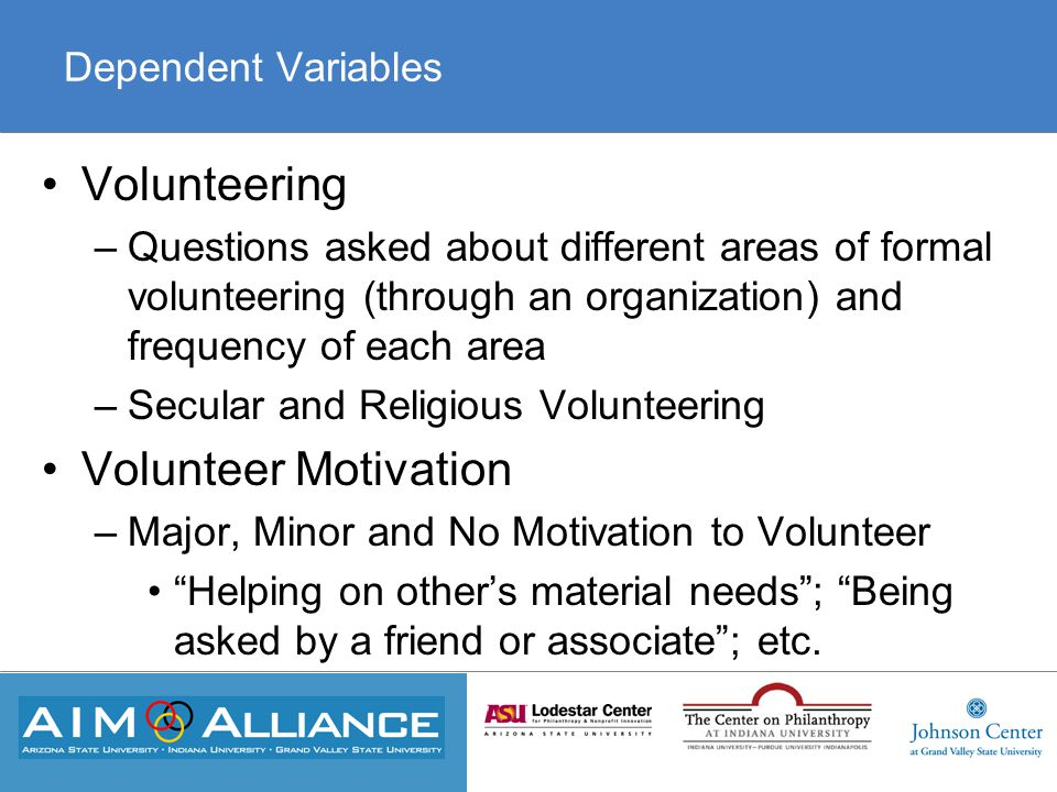 Dependent Variables Volunteering –Questions asked about different areas of formal volunteering (through an organization) and frequency of each area –Secular and Religious Volunteering Volunteer Motivation –Major, Minor and No Motivation to Volunteer Helping on other's material needs ; Being asked by a friend or associate ; etc.