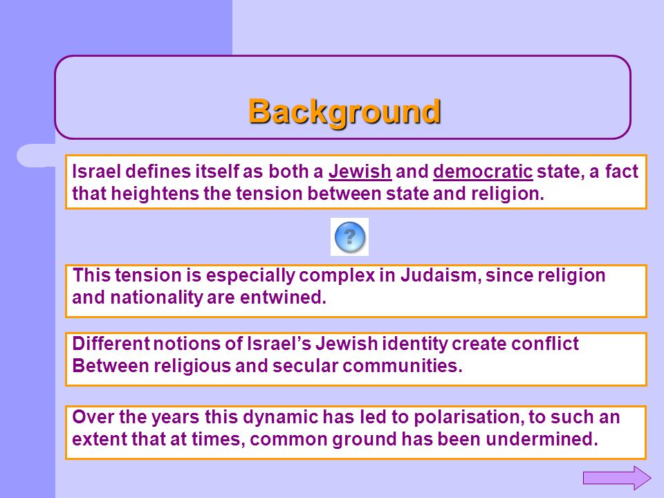 Background This tension is especially complex in Judaism, since religion and nationality are entwined. Different notions of Israel's Jewish identity c