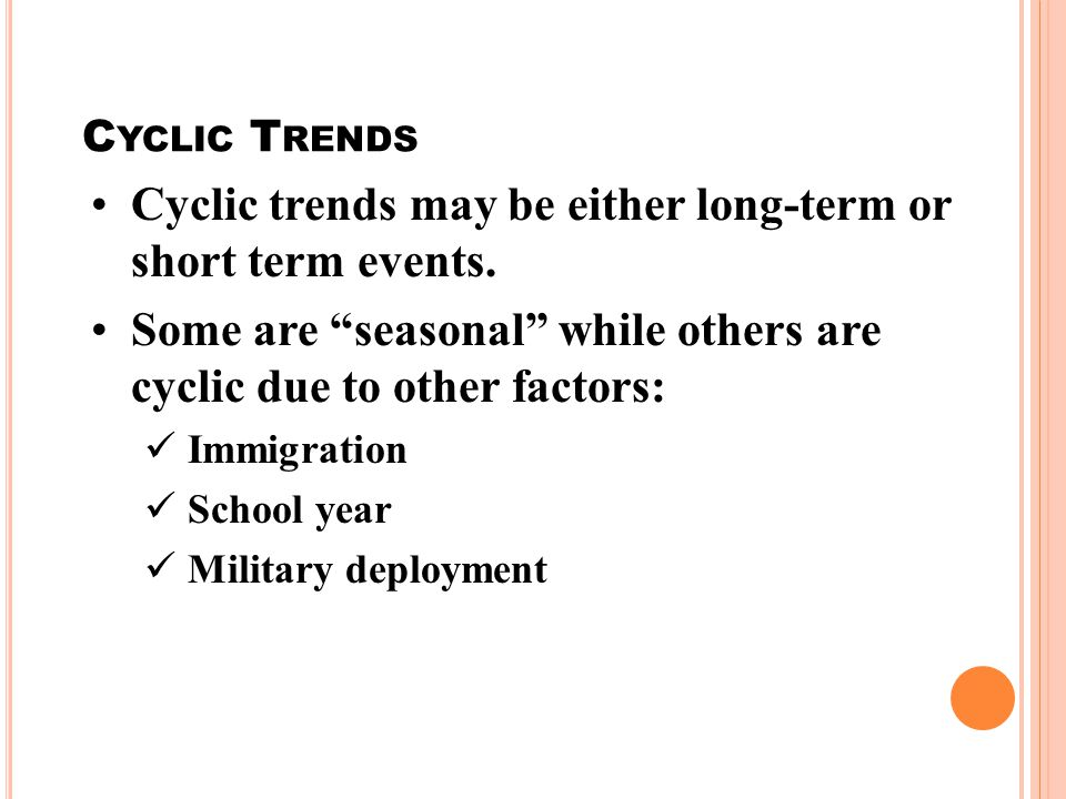 C YCLIC T RENDS Cyclic trends may be either long-term or short term events.