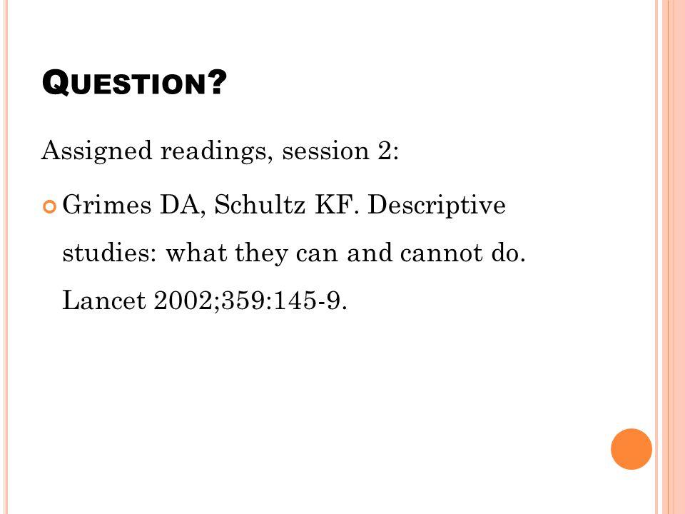Q UESTION .Assigned readings, session 2: Grimes DA, Schultz KF.