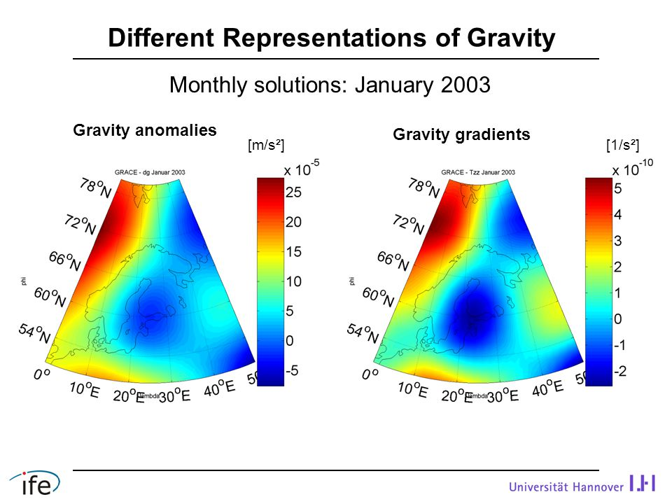 Monthly solutions: January 2003 Different Representations of Gravity Gravity anomalies Gravity gradients [1/s²][m/s²]