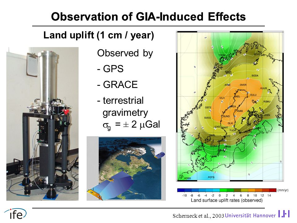 Difference Between Terrestrial and GRACE Data Absolute gravimetry - point-wise observations - also local and regional effects - high-frequency signals GRACE - spatial solution (spherical harmonics) - long spatial wavelengths - more low-frequency temporal signals appropriate reductions required as well as temporal and spatial filtering