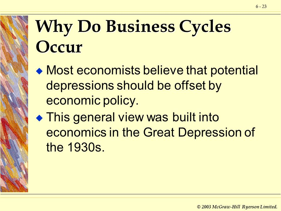 6 - 23 © 2003 McGraw-Hill Ryerson Limited. Why Do Business Cycles Occur u Most economists believe that potential depressions should be offset by econo