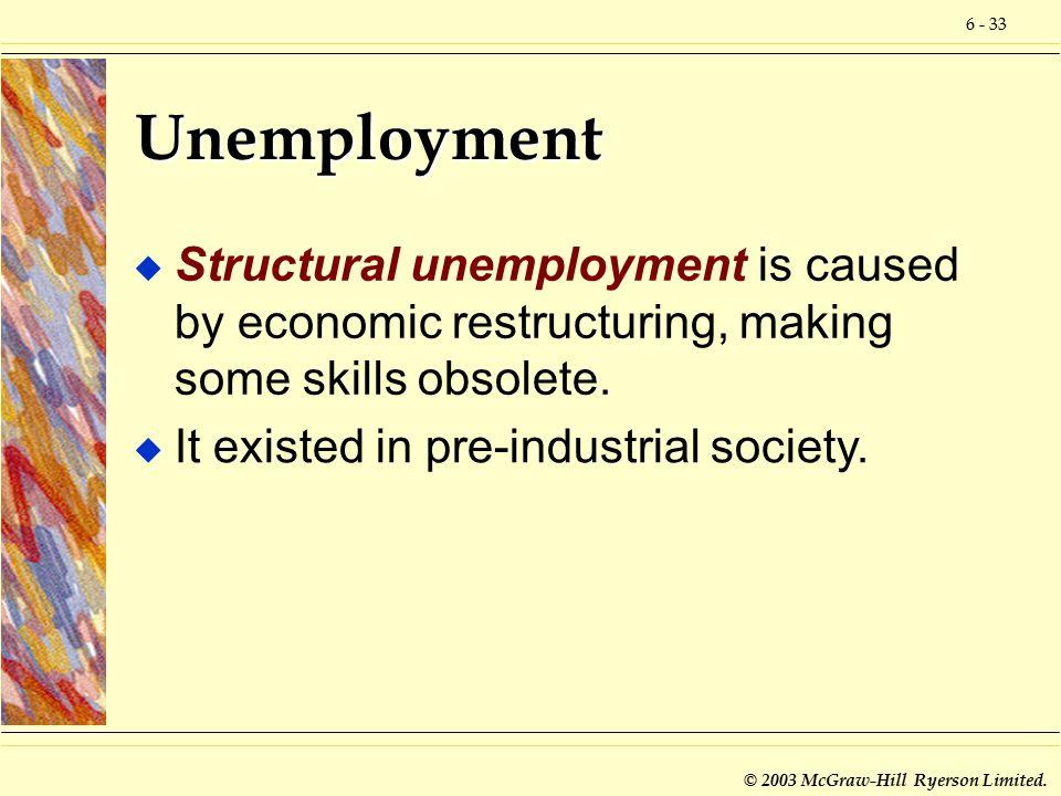 6 - 33 © 2003 McGraw-Hill Ryerson Limited. Unemployment u Structural unemployment is caused by economic restructuring, making some skills obsolete. u