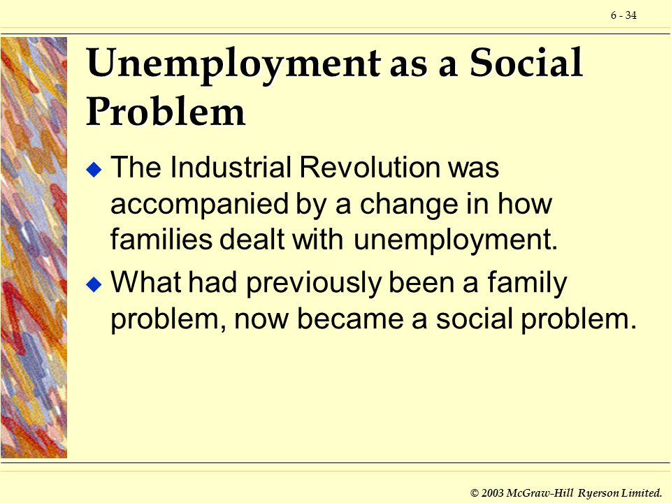 6 - 34 © 2003 McGraw-Hill Ryerson Limited. Unemployment as a Social Problem u The Industrial Revolution was accompanied by a change in how families de