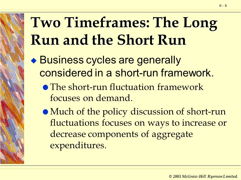6 - 4 © 2003 McGraw-Hill Ryerson Limited. Two Timeframes: The Long Run and the Short Run u Business cycles are generally considered in a short-run fra