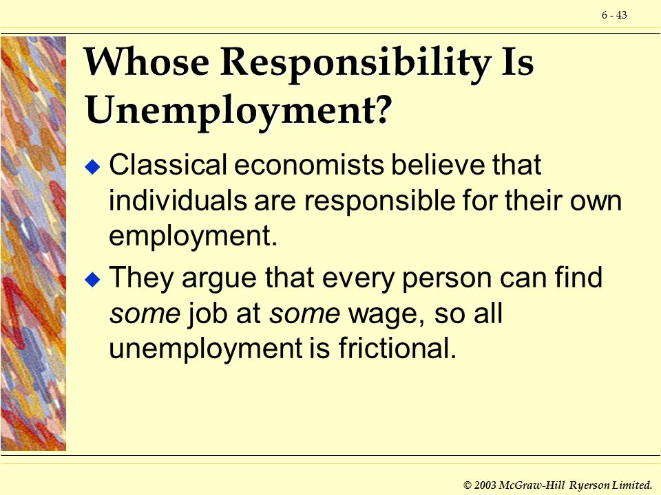 6 - 43 © 2003 McGraw-Hill Ryerson Limited. Whose Responsibility Is Unemployment.