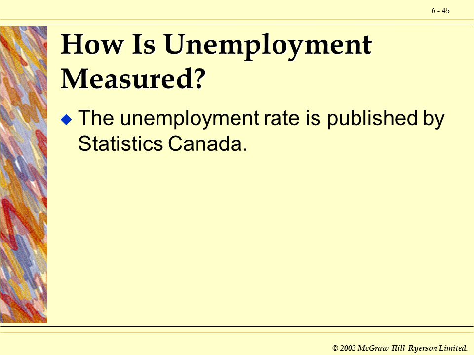 6 - 45 © 2003 McGraw-Hill Ryerson Limited. How Is Unemployment Measured.