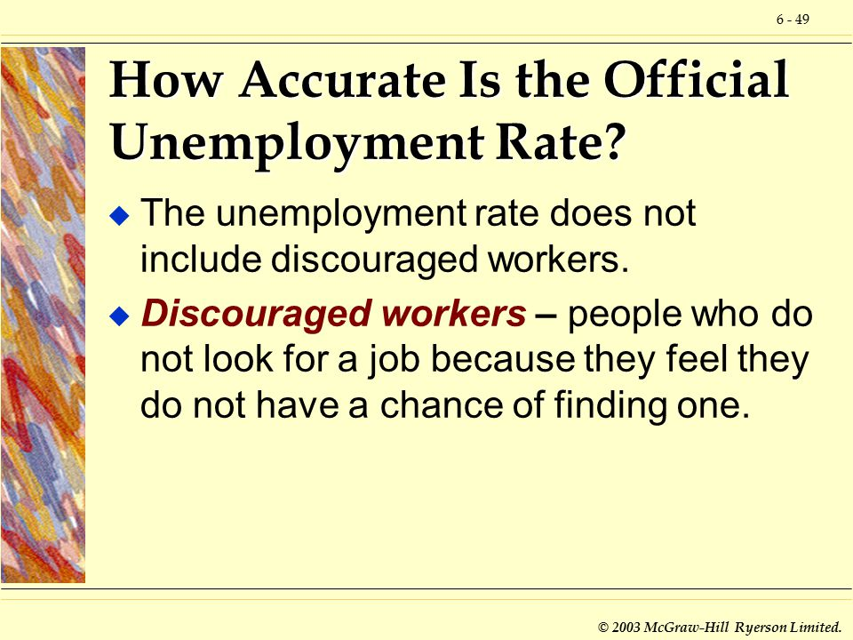 6 - 49 © 2003 McGraw-Hill Ryerson Limited. How Accurate Is the Official Unemployment Rate.