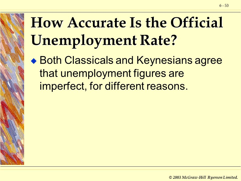 6 - 53 © 2003 McGraw-Hill Ryerson Limited. How Accurate Is the Official Unemployment Rate.