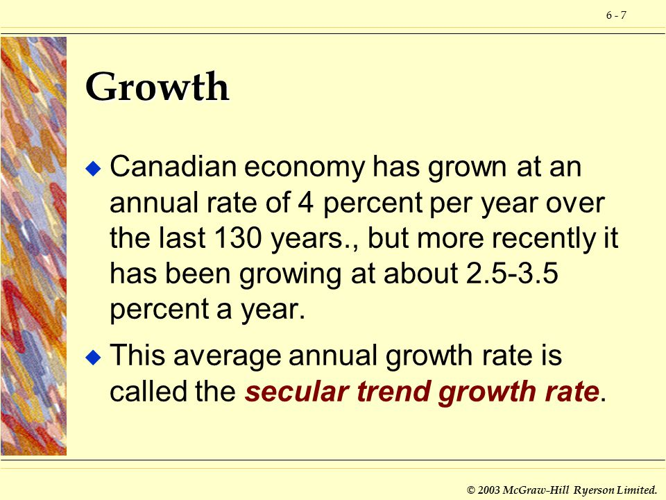 6 - 7 © 2003 McGraw-Hill Ryerson Limited. Growth u Canadian economy has grown at an annual rate of 4 percent per year over the last 130 years., but mo