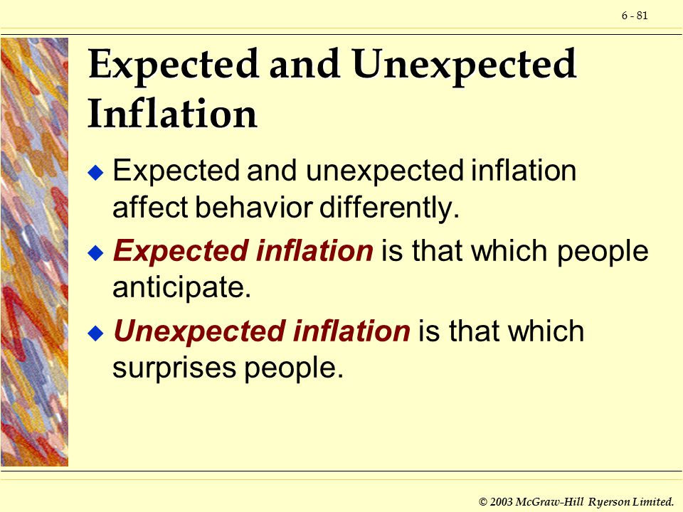 6 - 81 © 2003 McGraw-Hill Ryerson Limited. Expected and Unexpected Inflation u Expected and unexpected inflation affect behavior differently. u Expect