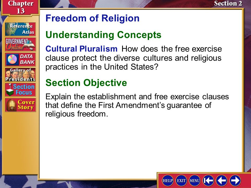 Section 2-1 The Supreme Court in 1962 ruled 6 to 1 against allowing prayers in public schools.