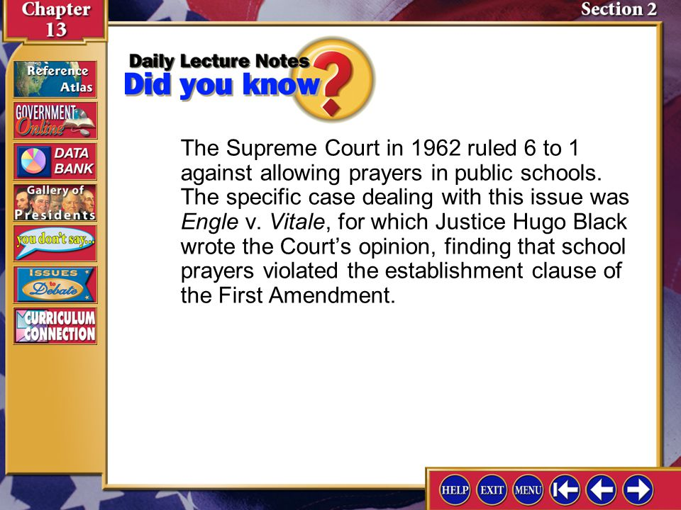 Section 2-2 A.This clause forbids Congress from passing legislation to establish a single religion for the United States.