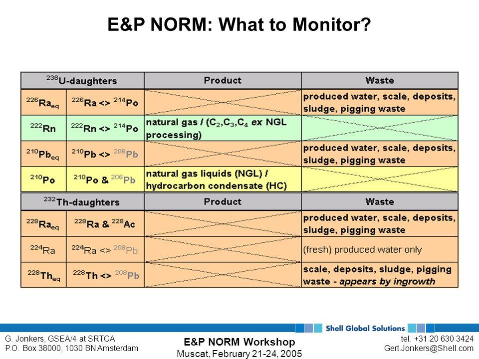 E&P NORM Workshop Muscat, February 21-24, 2005 tel. +31 20 630 3424 Gert.Jonkers@Shell.com G. Jonkers, GSEA/4 at SRTCA P.O. Box 38000, 1030 BN Amsterd