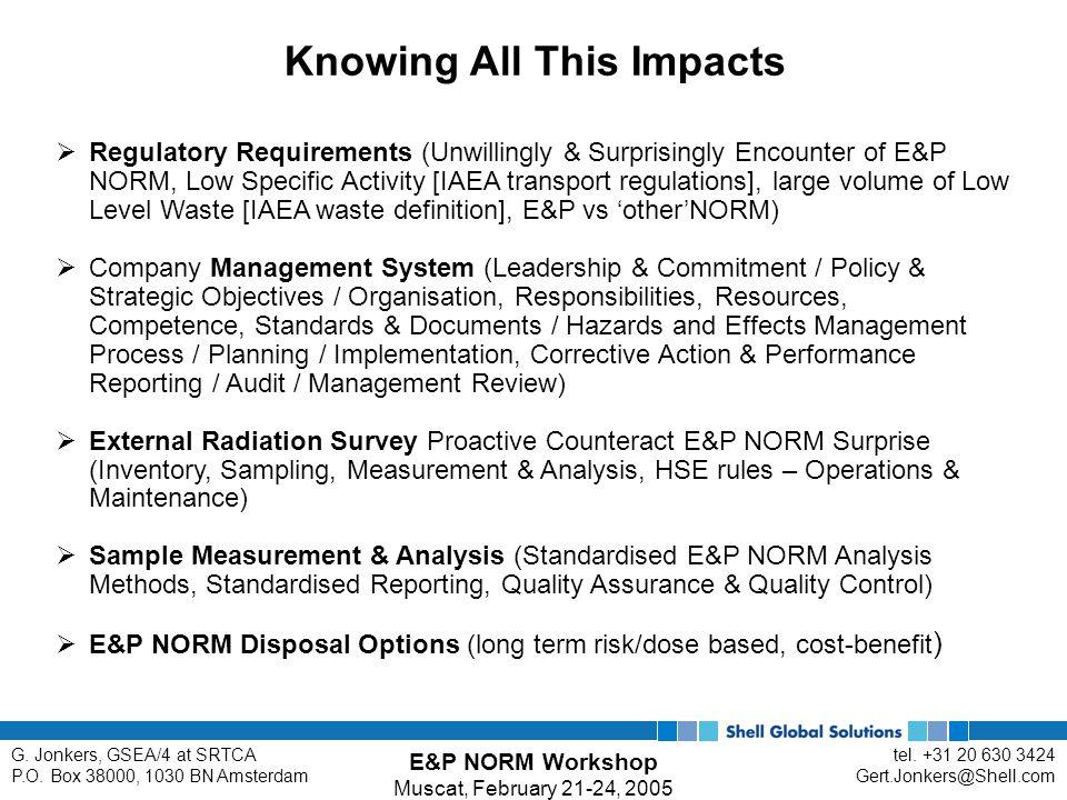 E&P NORM Workshop Muscat, February 21-24, 2005 tel.