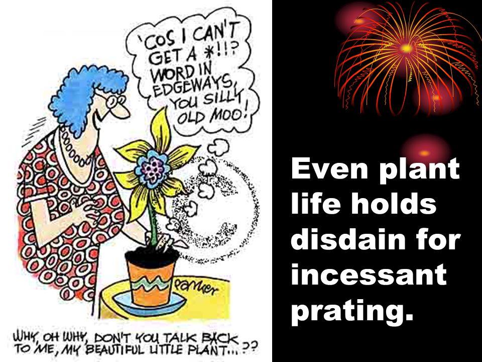 Even plant life holds disdain for incessant prating.