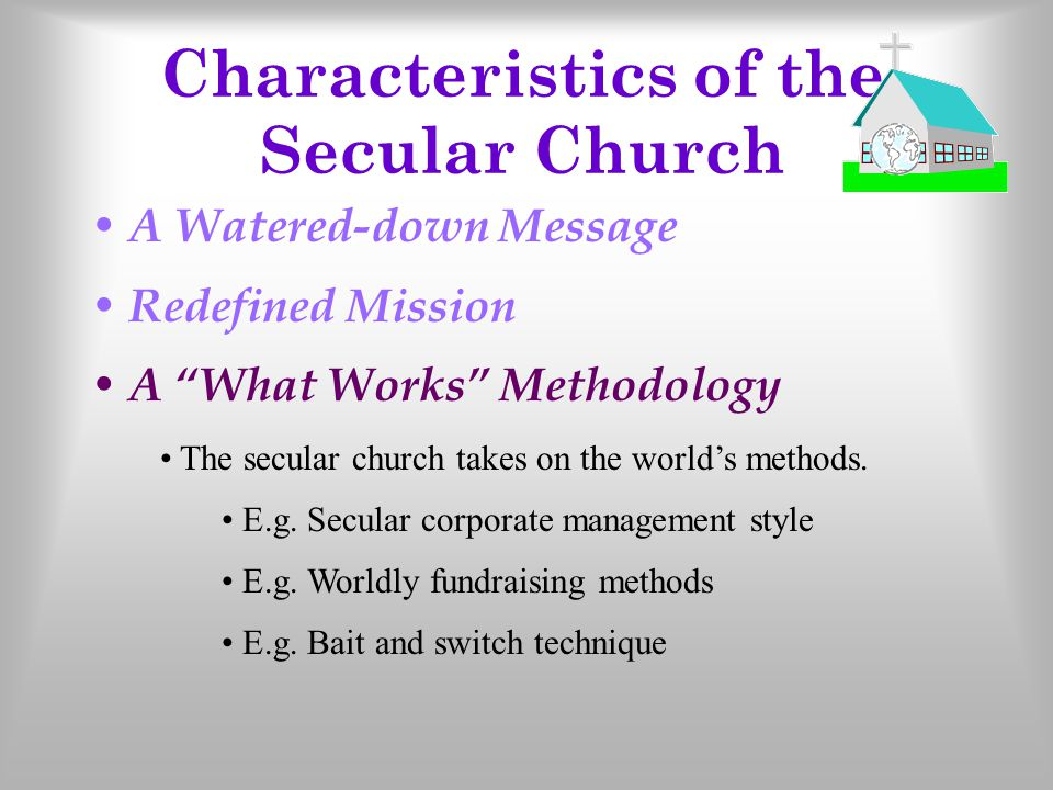 "Redefined Mission A Watered-down Message Mission of the church– 1 Tim 3.15 The secular church allows the world to decide its agenda ""Therapeutic Chris"