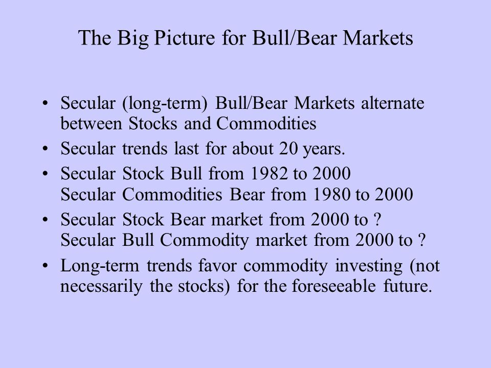 The Big Picture for Bull/Bear Markets Secular (long-term) Bull/Bear Markets alternate between Stocks and Commodities Secular trends last for about 20 years.