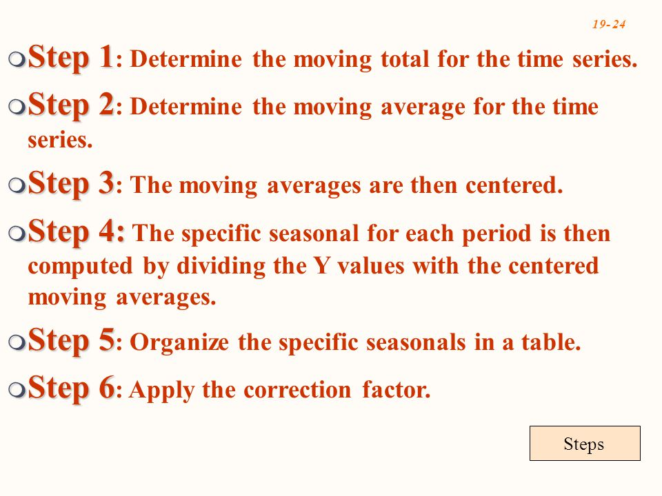 19- 24 Steps  Step 1  Step 1 : Determine the moving total for the time series.  Step 2  Step 2 : Determine the moving average for the time series.