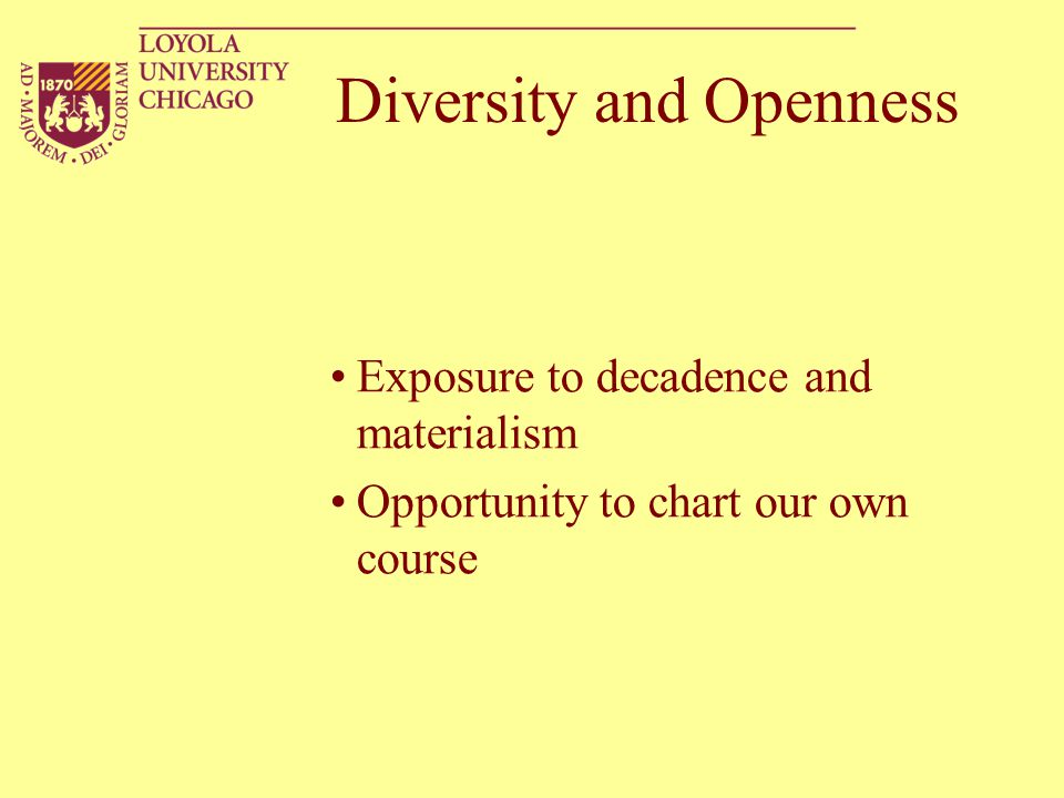 Diversity and Openness Exposure to decadence and materialism Opportunity to chart our own course
