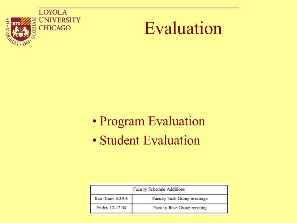 Evaluation Program Evaluation Student Evaluation
