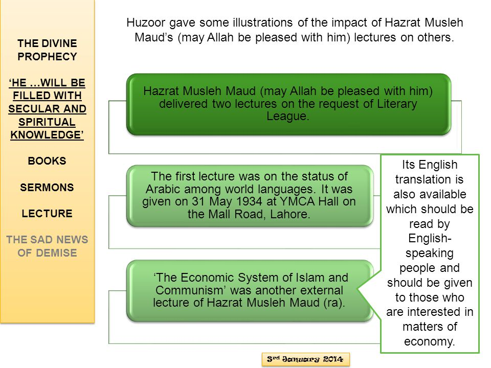 Hazrat Musleh Maud (may Allah be pleased with him) delivered two lectures on the request of Literary League.