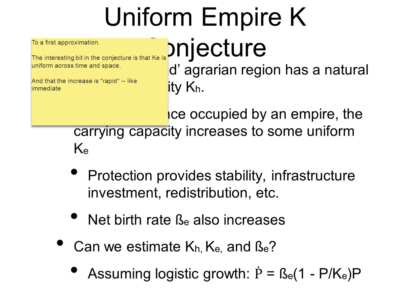 Uniform Empire K Conjecture Each 'hinterland' agrarian region has a natural carrying capacity K h. Conjecture: Once occupied by an empire, the carryin