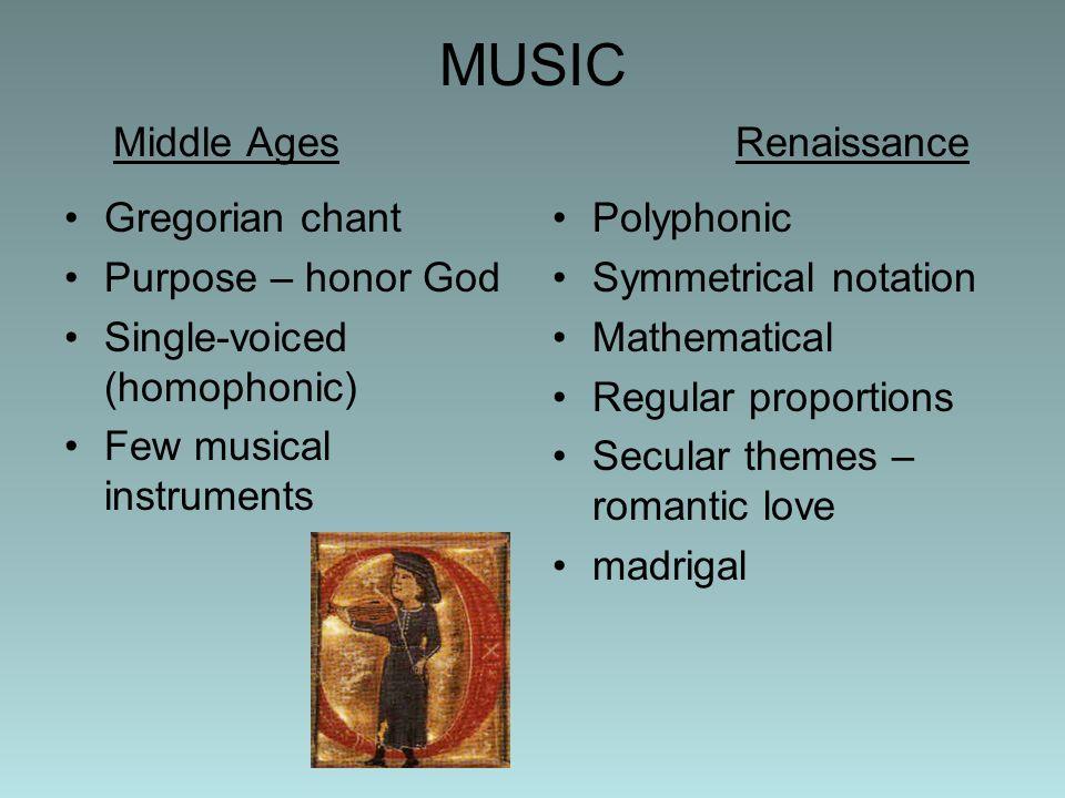 MUSIC Middle AgesRenaissance Gregorian chant Purpose – honor God Single-voiced (homophonic) Few musical instruments Polyphonic Symmetrical notation Ma