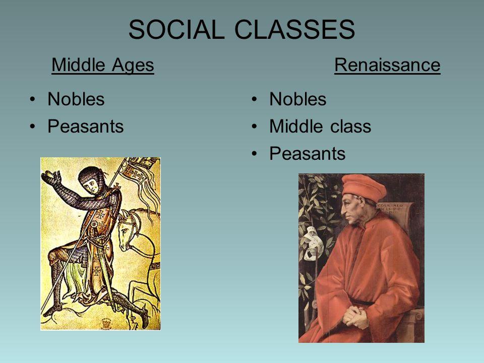 SOCIAL CLASSES Middle AgesRenaissance Nobles Peasants Nobles Middle class Peasants