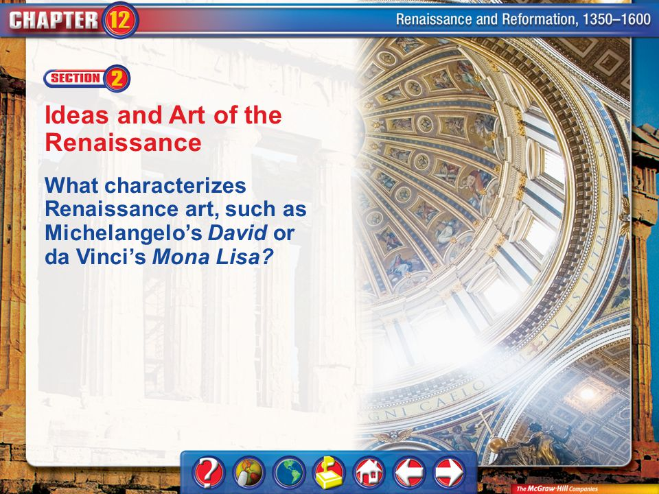 Chapter Intro 2 Ideas and Art of the Renaissance What characterizes Renaissance art, such as Michelangelo's David or da Vinci's Mona Lisa