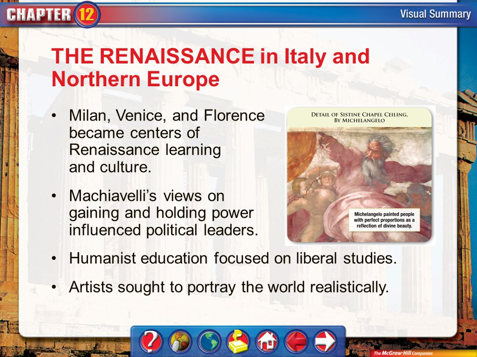 VS 1 THE RENAISSANCE in Italy and Northern Europe Milan, Venice, and Florence became centers of Renaissance learning and culture.
