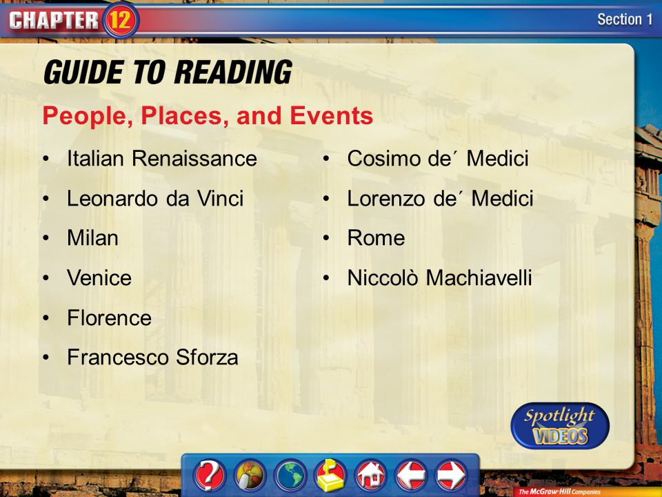 Section 1-Key Terms People, Places, and Events Italian Renaissance Leonardo da Vinci Milan Venice Florence Francesco Sforza Cosimo de´ Medici Lorenzo de´ Medici Rome Niccolò Machiavelli