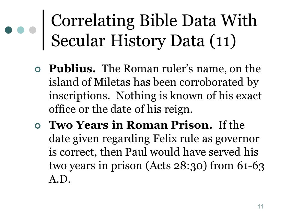 11 Correlating Bible Data With Secular History Data (11) Publius. The Roman ruler's name, on the island of Miletas has been corroborated by inscriptio