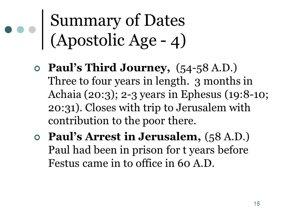 15 Summary of Dates (Apostolic Age - 4) Paul's Third Journey, (54-58 A.D.) Three to four years in length. 3 months in Achaia (20:3); 2-3 years in Ephe