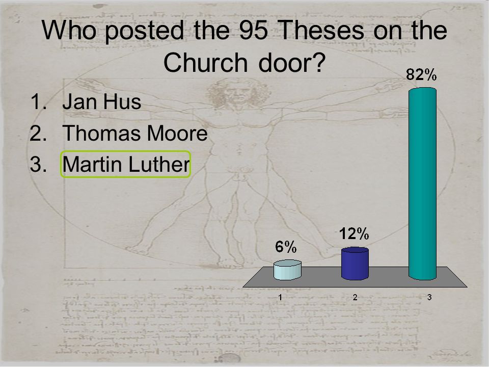 Who posted the 95 Theses on the Church door? 1.Jan Hus 2.Thomas Moore 3.Martin Luther