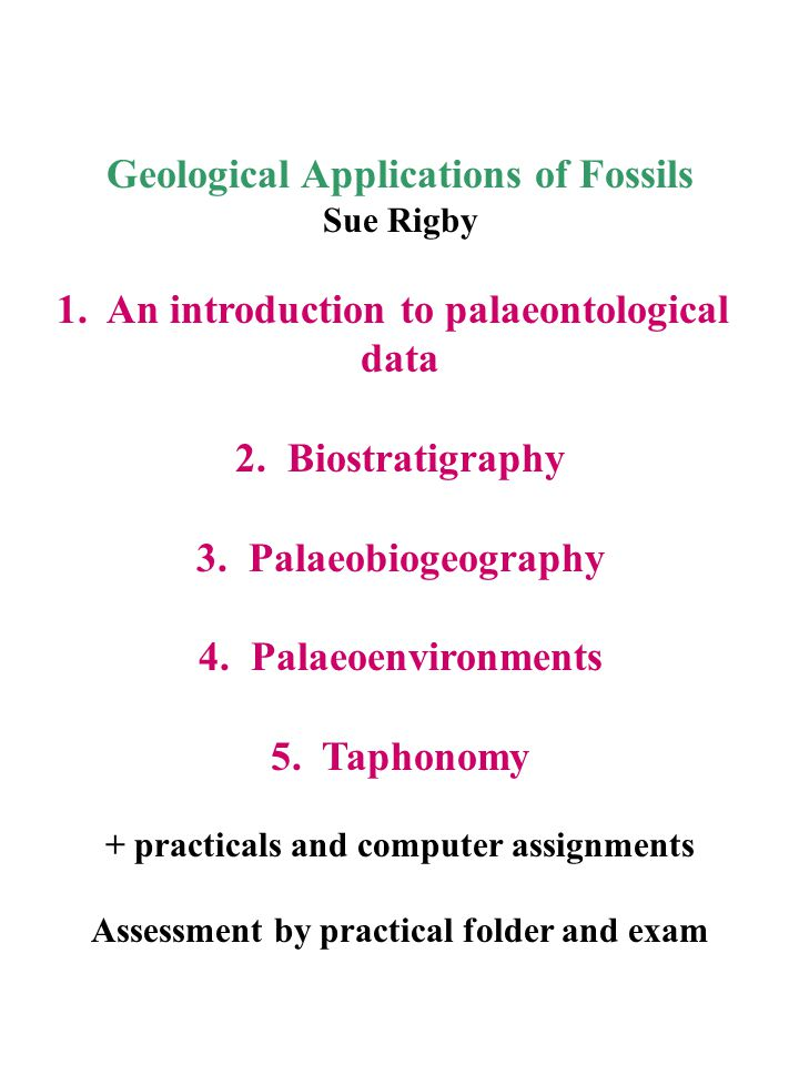 1.An introduction to palaeontological data a. Types of fossil b.